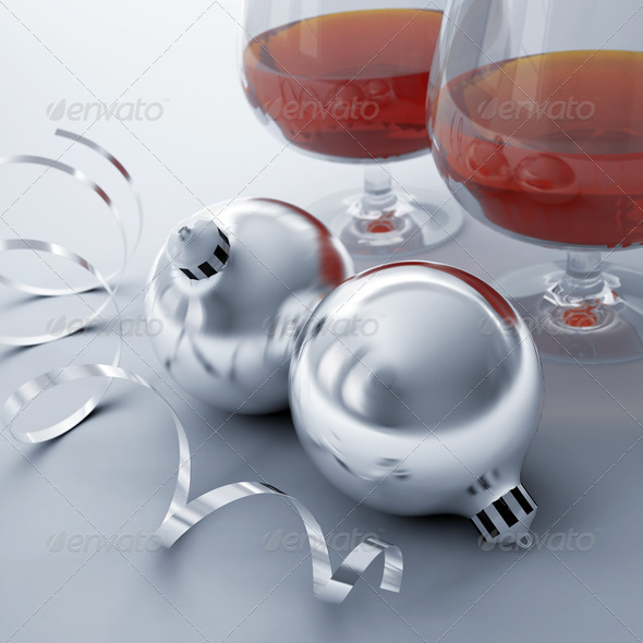 PhotoDune Christmas balls ribbon and glasses with alcohol drinks 4141349