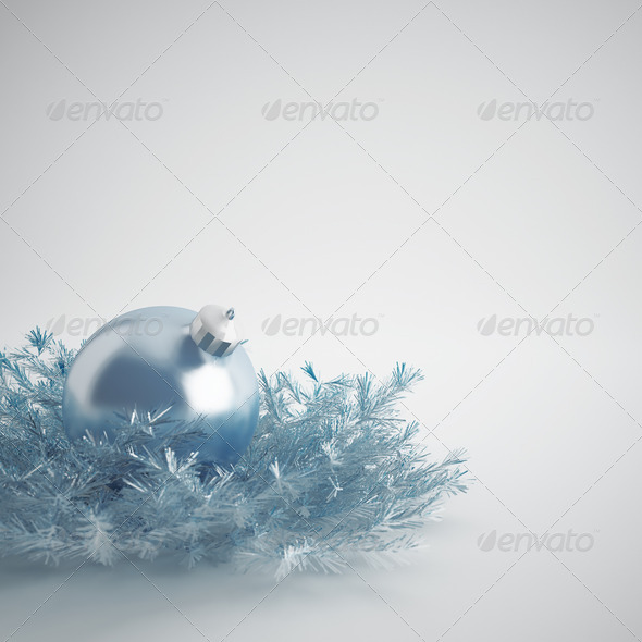 PhotoDune Christmas ball of gentle blue color in an environment of a tinsels and decorations 4141364