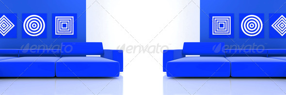 PhotoDune interior in blue tones with two sofa and ornaments on wall 4141379
