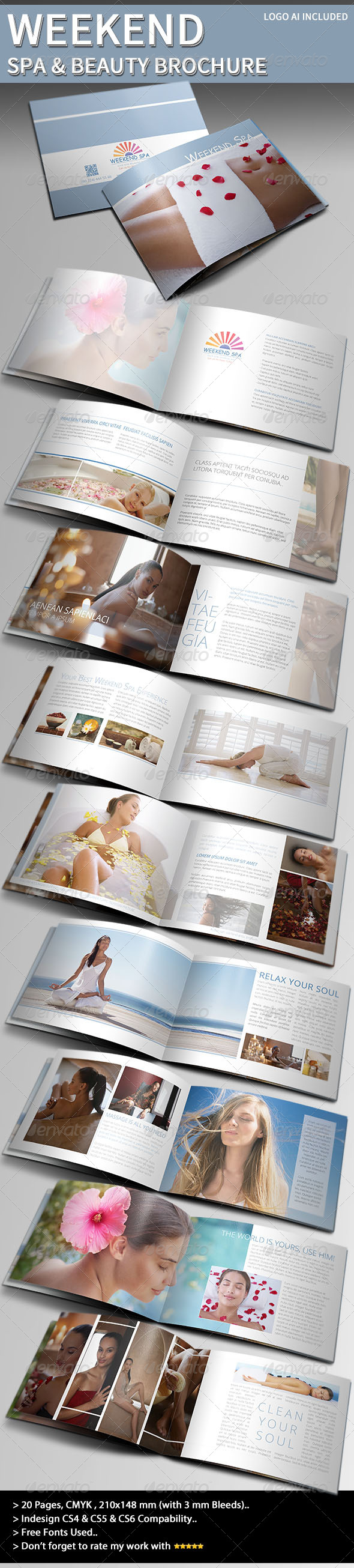 GraphicRiver Weekend Spa & Beauty Brochure 4022937
