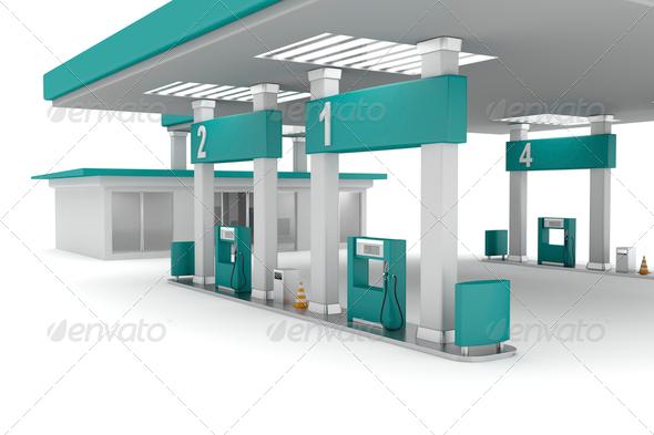 PhotoDune Green petrol station 4150269