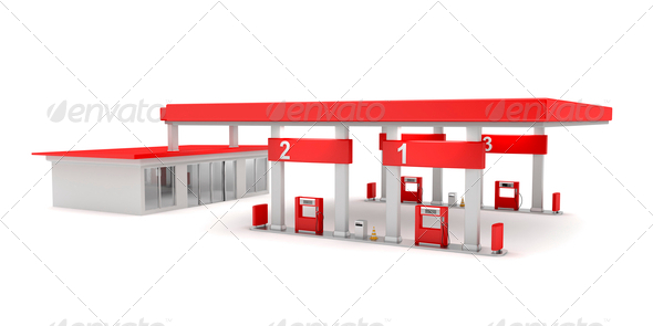 PhotoDune Red petrol station 4150275