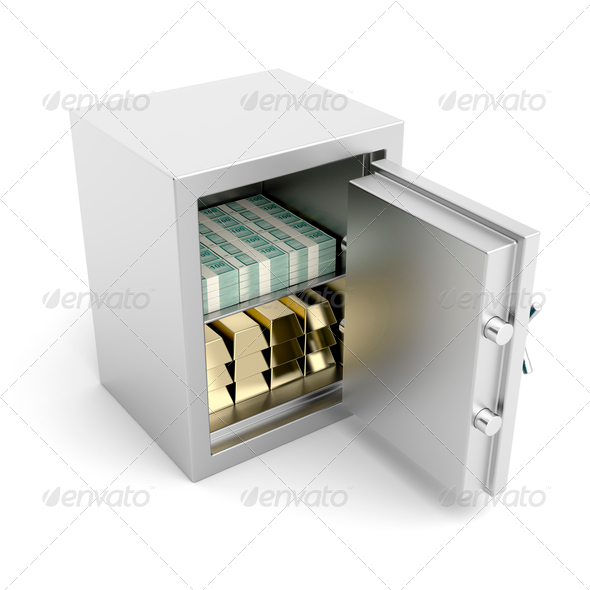 PhotoDune Safe with gold and money 4150276