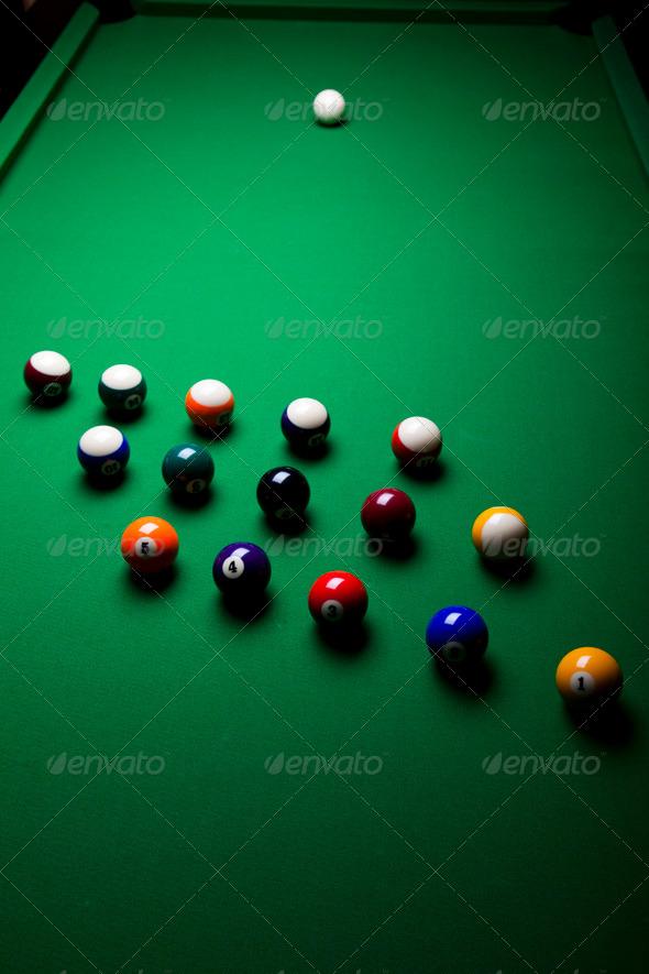 PhotoDune Pool game balls against a green 4166156