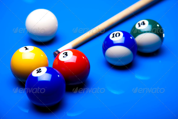 PhotoDune Billiard balls cue on blue table 4166085