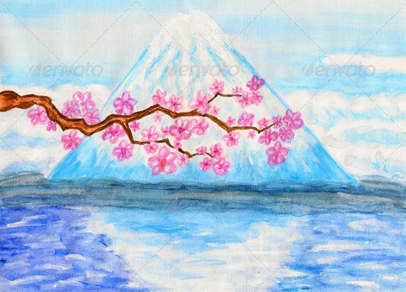 PhotoDune Fuji hill painting 4166123