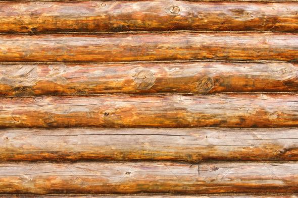 PhotoDune Rustic Pine Log Cabin Wall 4175574