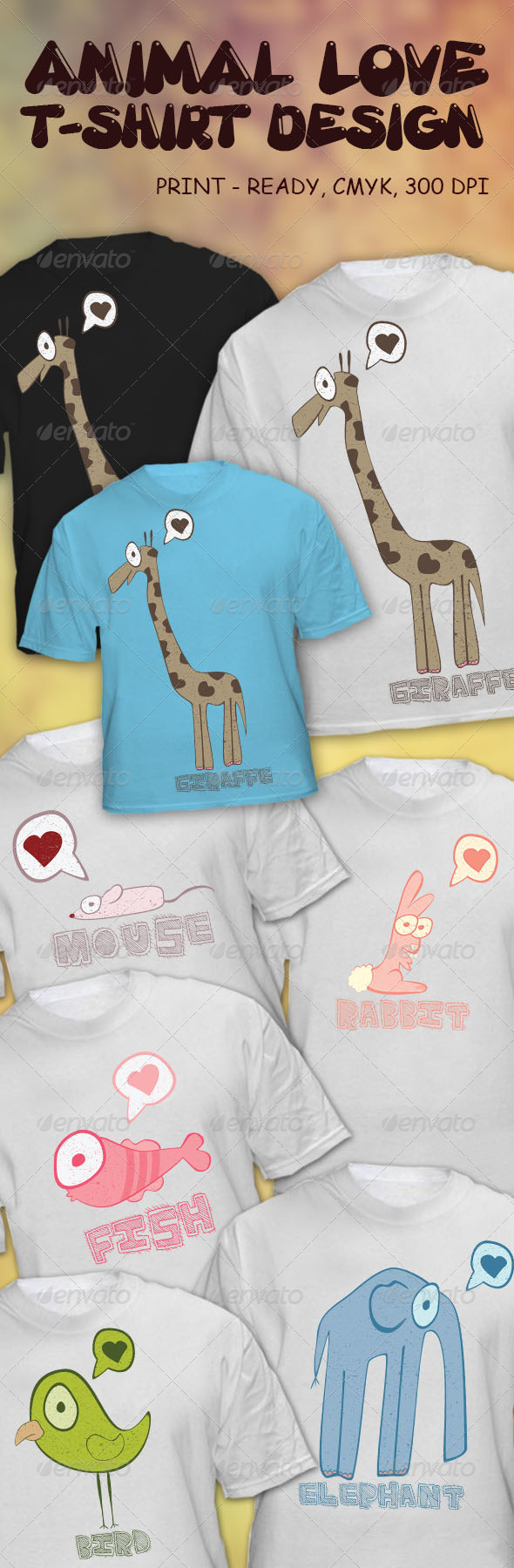 GraphicRiver Animal Love T-Shirt Design 4083759