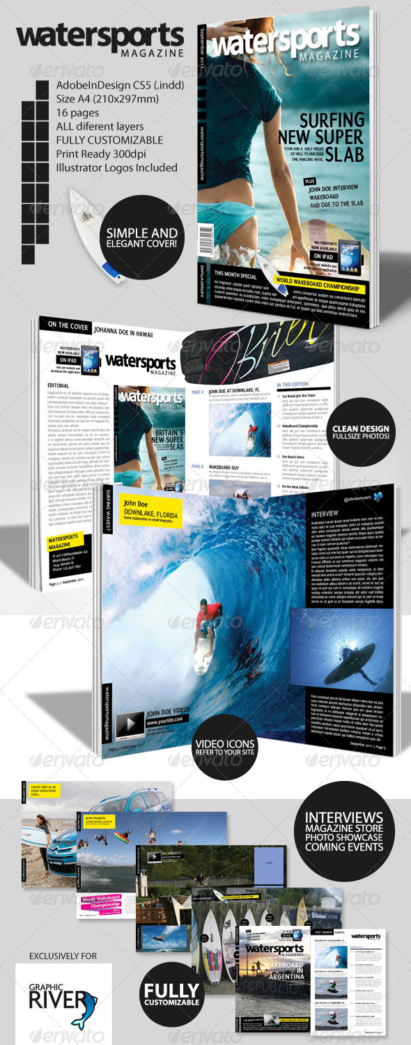 GraphicRiver WaterSports Indesign Magazine Template 428580