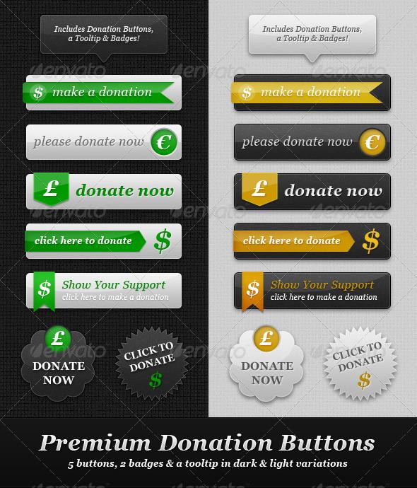 GraphicRiver Premium Donation Buttons Light & Dark 460707