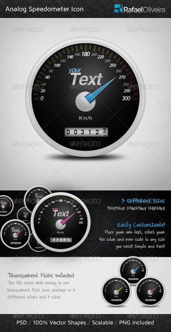 GraphicRiver Analog Speedometer Icon 461009