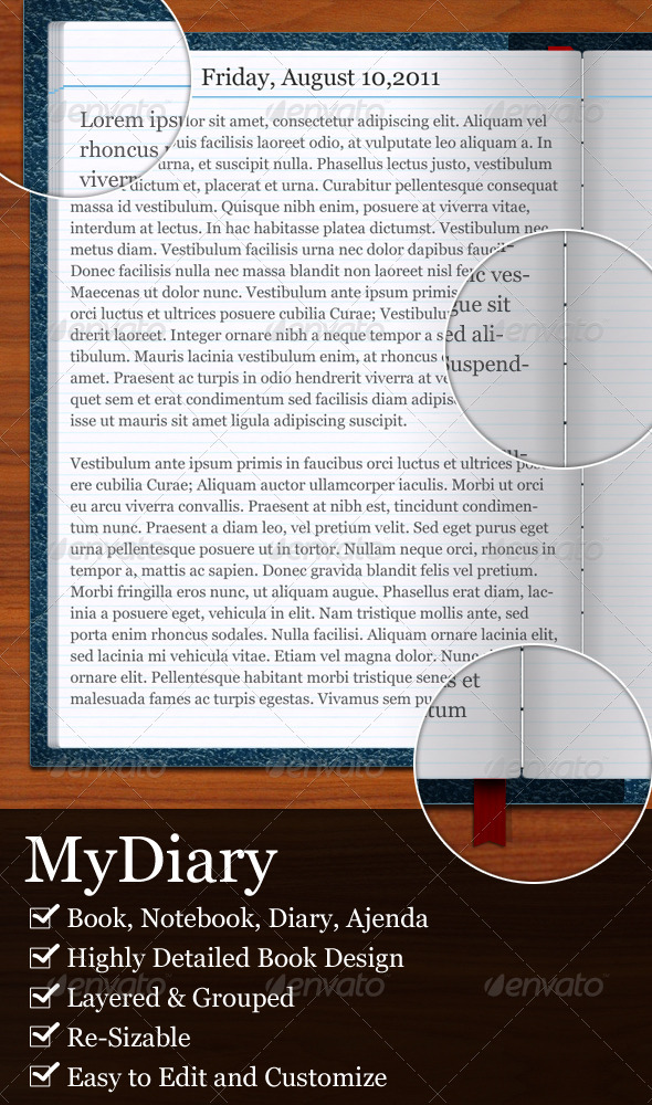 GraphicRiver MyDiary-Open Book and Diary Mockup 463200