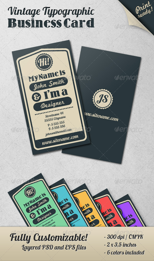 GraphicRiver Vintage Typographic Business Card 460703