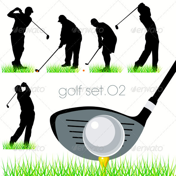 GraphicRiver Golf Players Silhouettes Set 467192