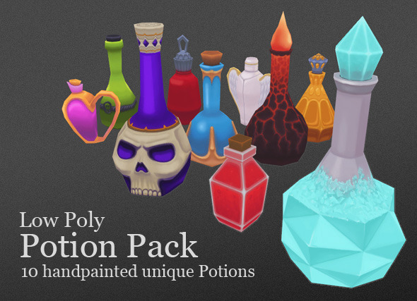 3d model Low Poly Potion Pack