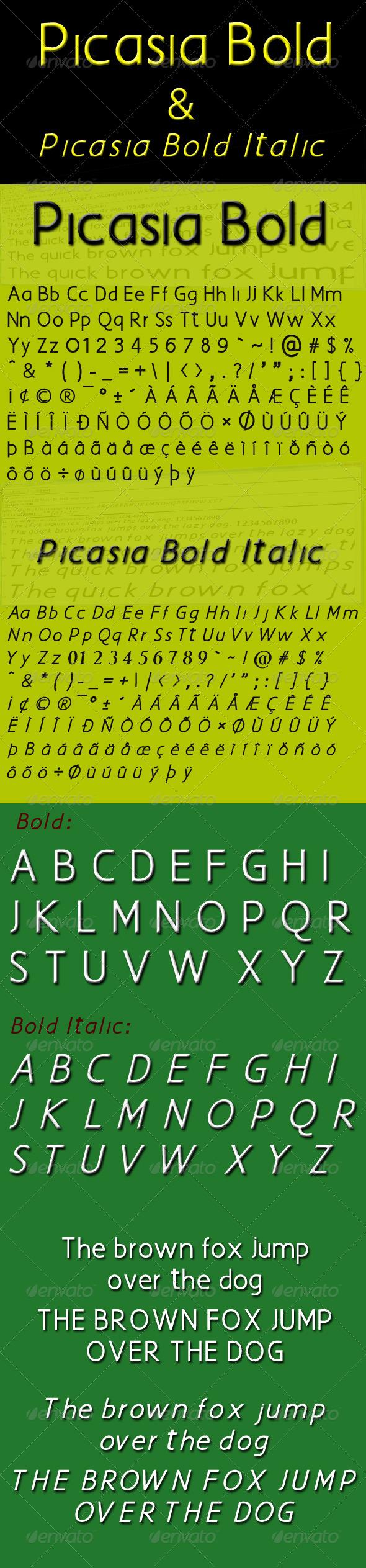 GraphicRiver Picasia Bold & Picasia Bold Italic Fonts 4398765