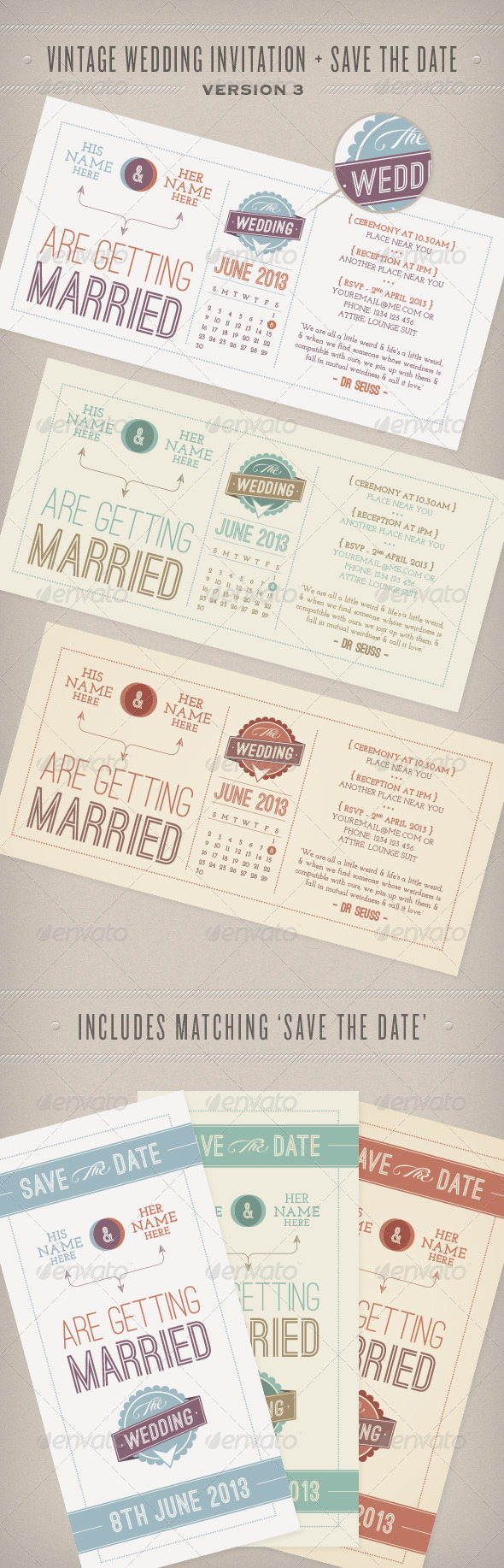 Print template graphicriver vintage wedding invitation for Vintage save the date templates free