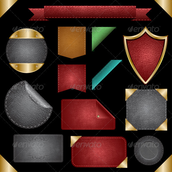 GraphicRiver Leather Badges Cards Backgrounds & Labels 473737