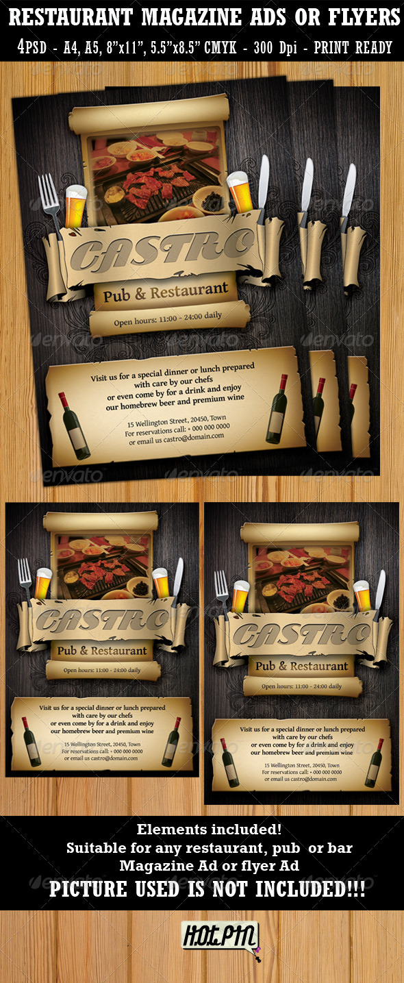 GraphicRiver Restaurant-Bar Magazine Ads or Flyers Template 473985