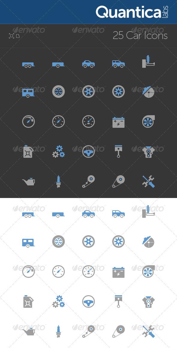 GraphicRiver 25 Car Icons 474051