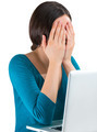 Young tired woman face palm working on laptop - PhotoDune Item for Sale