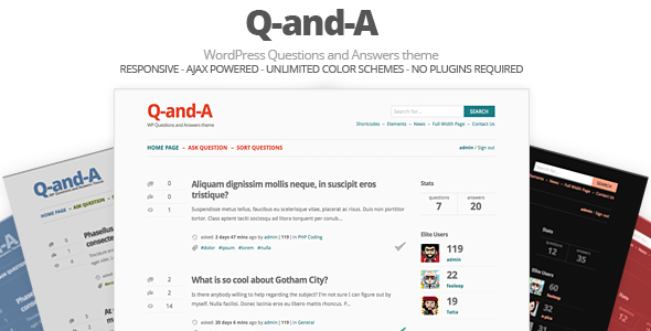 Q-and-A, WP Questions and Answers WordPress theme