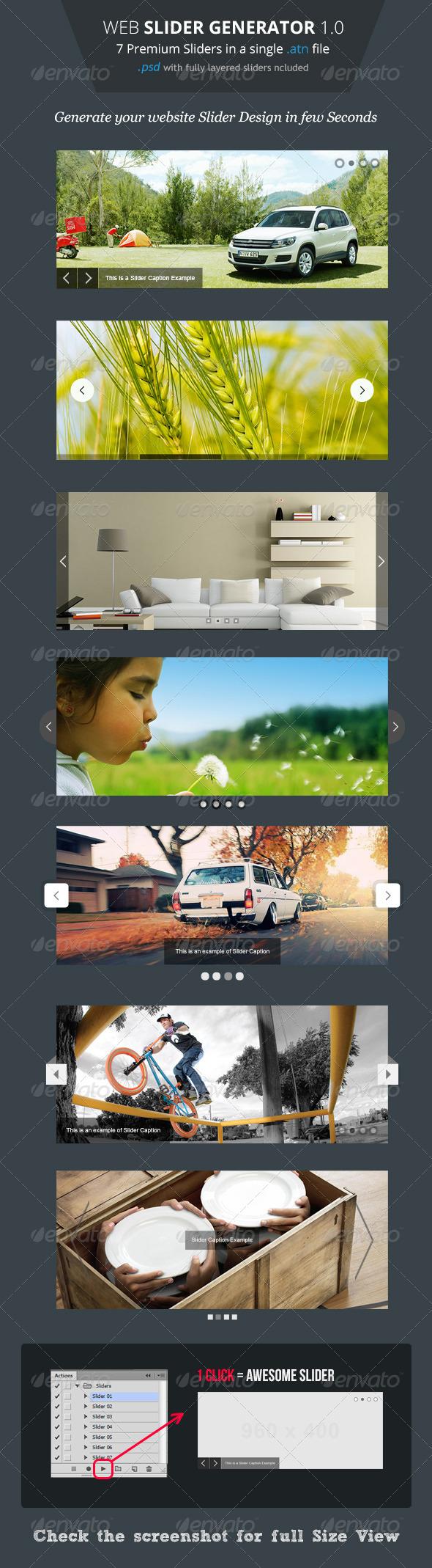 GraphicRiver Web Slider Generator Premium Photoshop Action 4527185