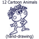 12 Cartoon Animals (Hand-drawing) - GraphicRiver Item for Sale