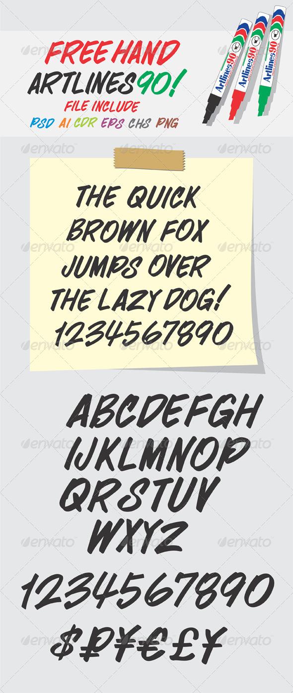 GraphicRiver Alphabet Free Hand Artlines 90 Shapes 4569433