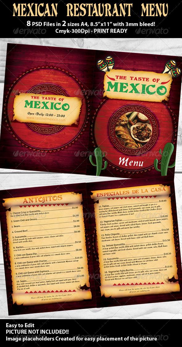 GraphicRiver Mexican Restaurant Menu PSD Template 480345