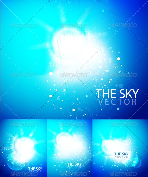 Graphic River Blue sky backgrounds Vectors -  Conceptual  Nature  Landscapes 481248