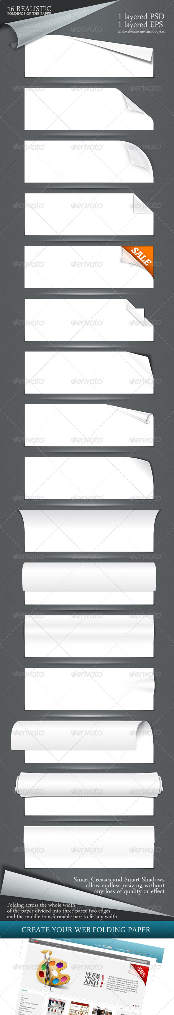 GraphicRiver 16 realistic folding of the paper PSD & EPS 481445
