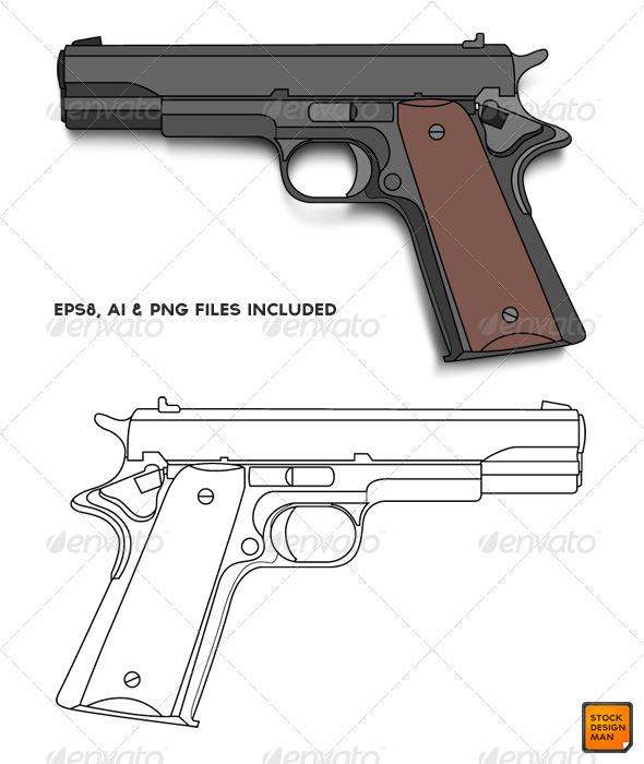 Graphic River Colt 45 Vector Vectors -  Objects 484336