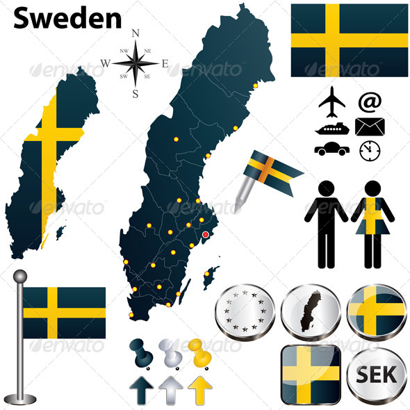 GraphicRiver Map of Sweden with Regions 4635280
