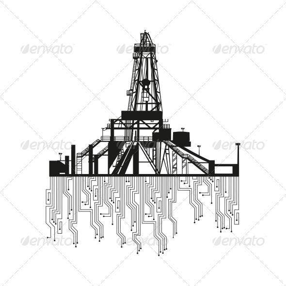 Oil Rig Silhouette   GraphicRiver