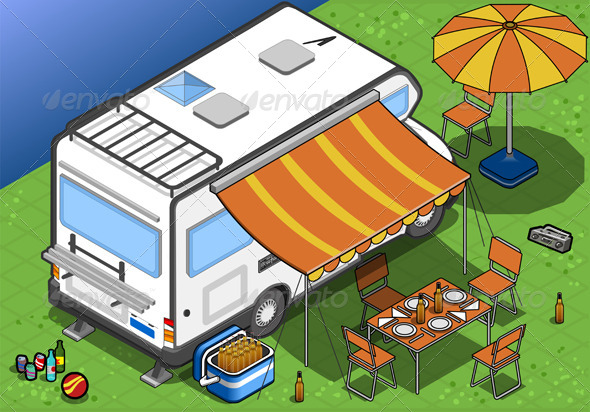 GraphicRiver Isometric Camper in Camping in Rear View 4643547