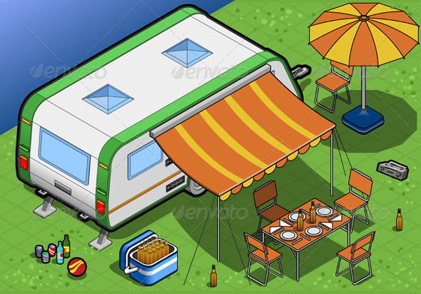 GraphicRiver Isometric Roulotte in Camping in Rear View 4643696