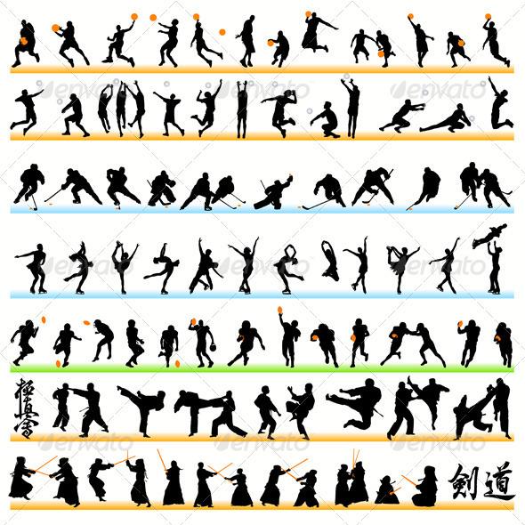 GraphicRiver 90 Sport Silhouettes Set 486045