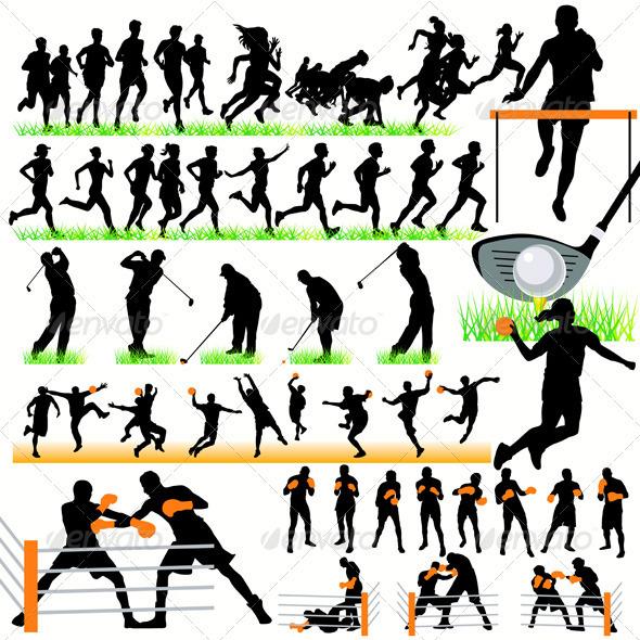 GraphicRiver 50 Sport Silhouettes Set 486062