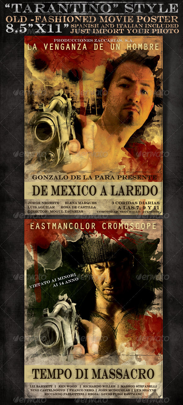 Graphic River 8x5 x11 Mexican and Italian Desperado Film Poster Print Templates -  Flyers  Events  Clubs & Parties 489613
