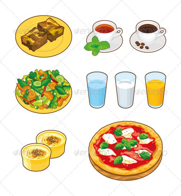 drinks foods food cartoon graphicriver breakfast water graphics pizza