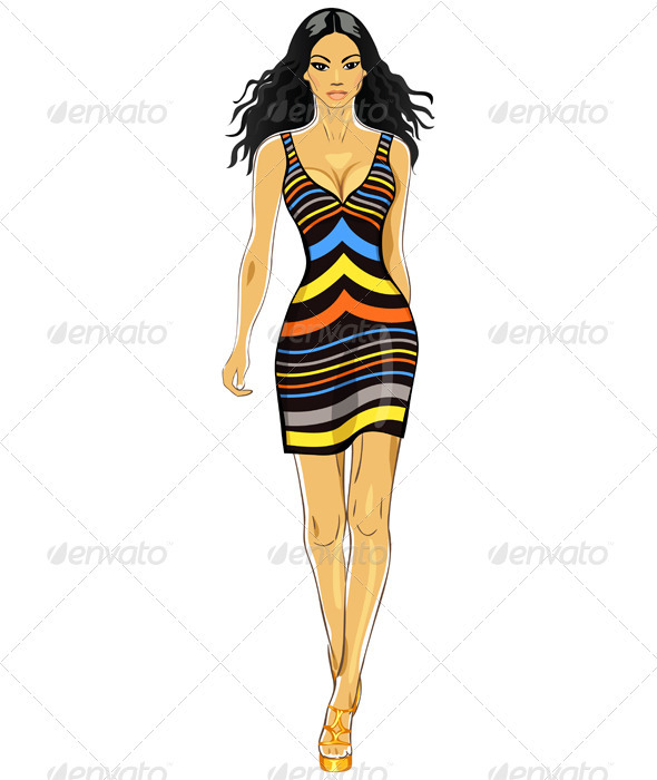 Graphic River Vector beautiful Asian girl in a striped dress Vectors -  Characters  People 492594