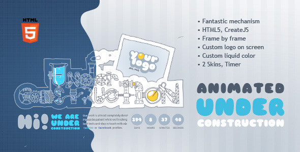 Under Construction Machine Animated HTML5 Template (Under Construction) images