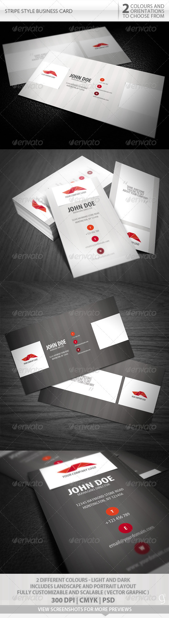 GraphicRiver Stripe Style Business Card 495769