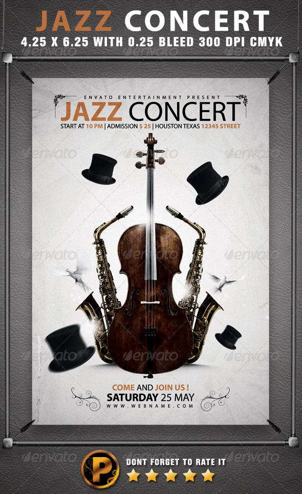 jazz concert flyer template graphicriver. Black Bedroom Furniture Sets. Home Design Ideas