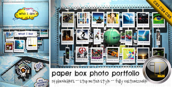 After Effects Project - VideoHive Paper Box Photo Portfolio Profile 494680