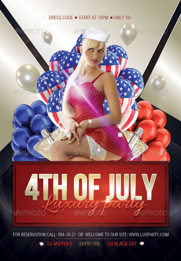 GraphicRiver 4th of July Luxury Party Flyer 4830694