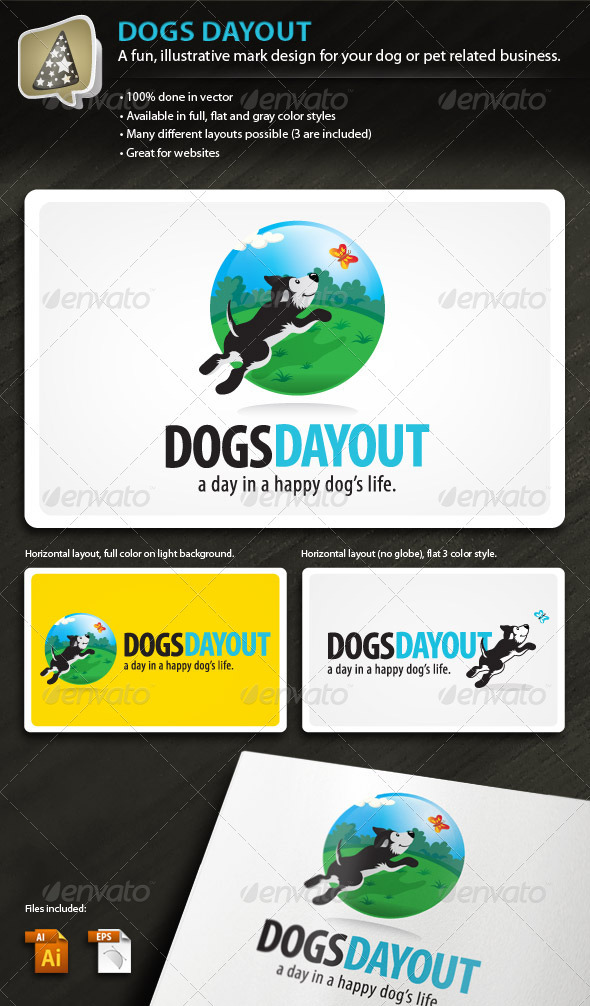 Graphic River DogsDayOut Illustrative Mark for Dog & Pet Biz Logo Templates -  Animals 501876