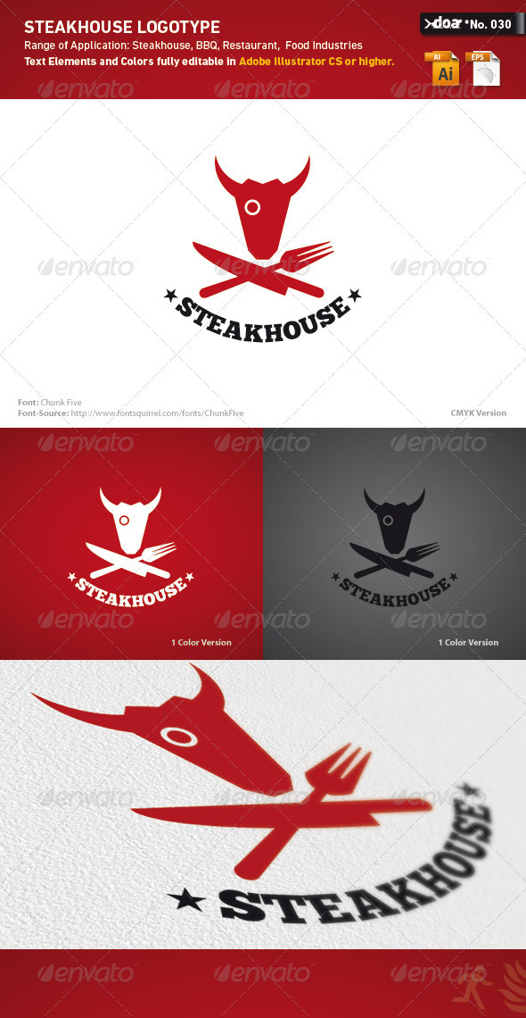 Graphic River Steakhouse Logo Template Logo Templates -  Animals 502476
