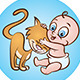 Baby with Kitty - GraphicRiver Item for Sale